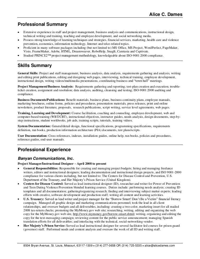 Example Of Professional Summary On Resume Professional Summary - professional summary for cv