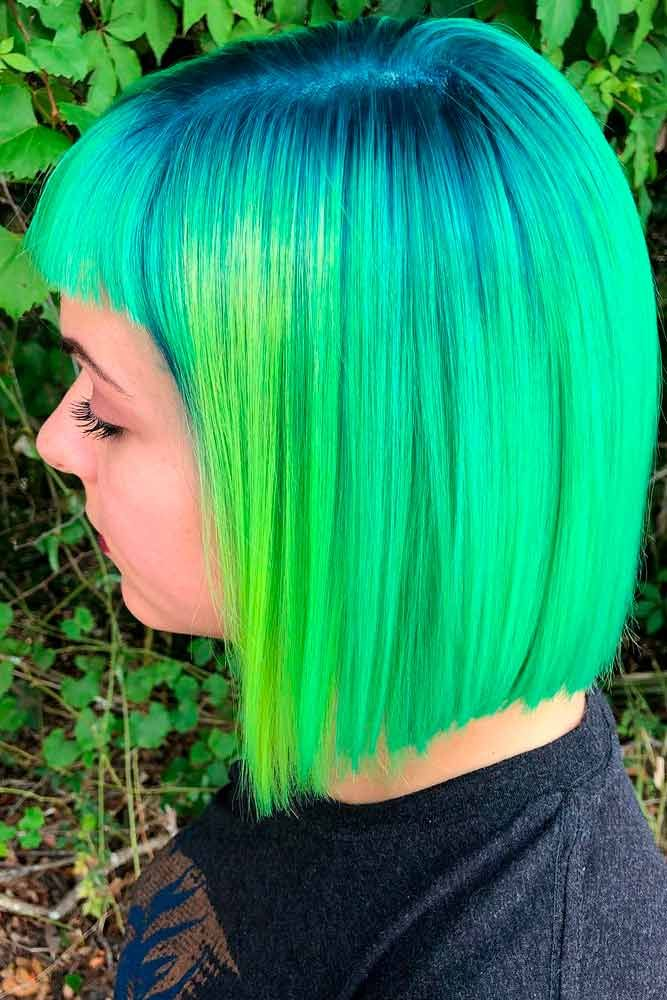 Neon Green #colorfulnails #brighthair ★ Looking for the latest green hair ideas? In our guide, we've put together the best options to match any taste, from light pastel mint balayage on a short bob to dark and bright emerald ombre on long locks. #glaminati #lifestyle #greenhair