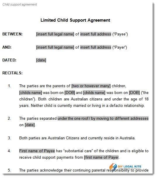 Child Support Contract Template Child Support Agreement 8 - parenting plan example