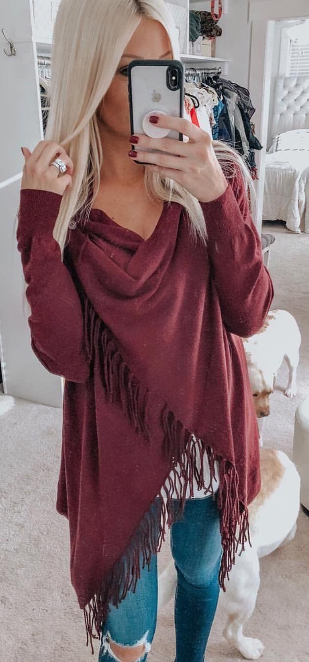red long-sleeved dress