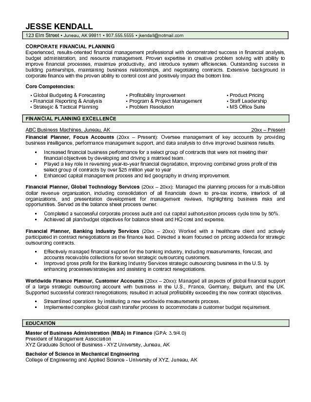 Financial Advisor Sample Resume Sample Resumes Financial Advisor