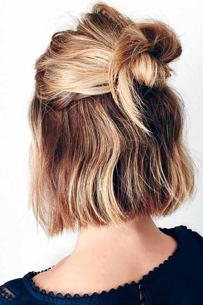 Amazing Hal Up For Short Hair #hairhighlights #easyhairstyles ★ Sexy short hairstyles are the answer for those who wonder which type of haircut is the best. Forget about waking up earlier only to fix your hair! #glaminati #lifestyle  #shorthairstyles