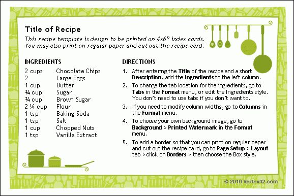 Free Recipe Card Templates For Microsoft Word Free Printable - free recipe card templates for microsoft word