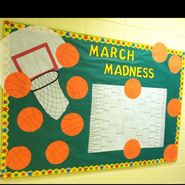 March Madness Reading on March Madness Library Bulletin Board