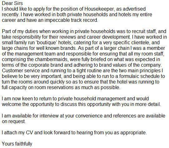 Sample Housekeeper Cover Letter Housekeeping And Cleaning Cover - housekeeping cover letter