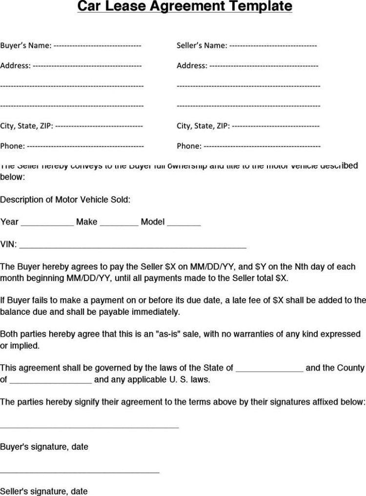 Lease Agreement Printable Printable Rental Agreement 11 Free Word - sample vehicle lease agreement