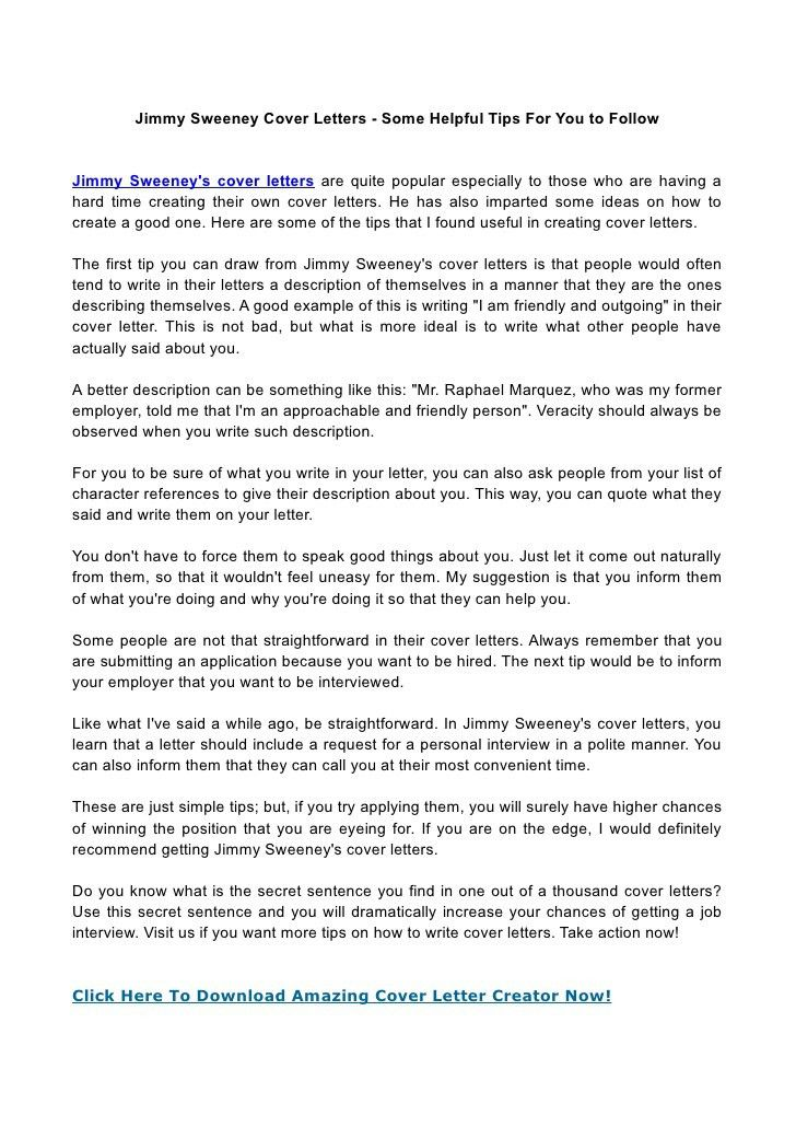 Jimmy Sweeney Cover Letter Samples How Jimmy Sweeney Resumes - great cover letter secrets