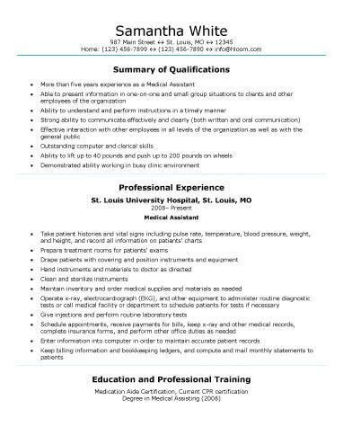 Sample Medical Resumes 16 Free Medical Assistant Resume Templates