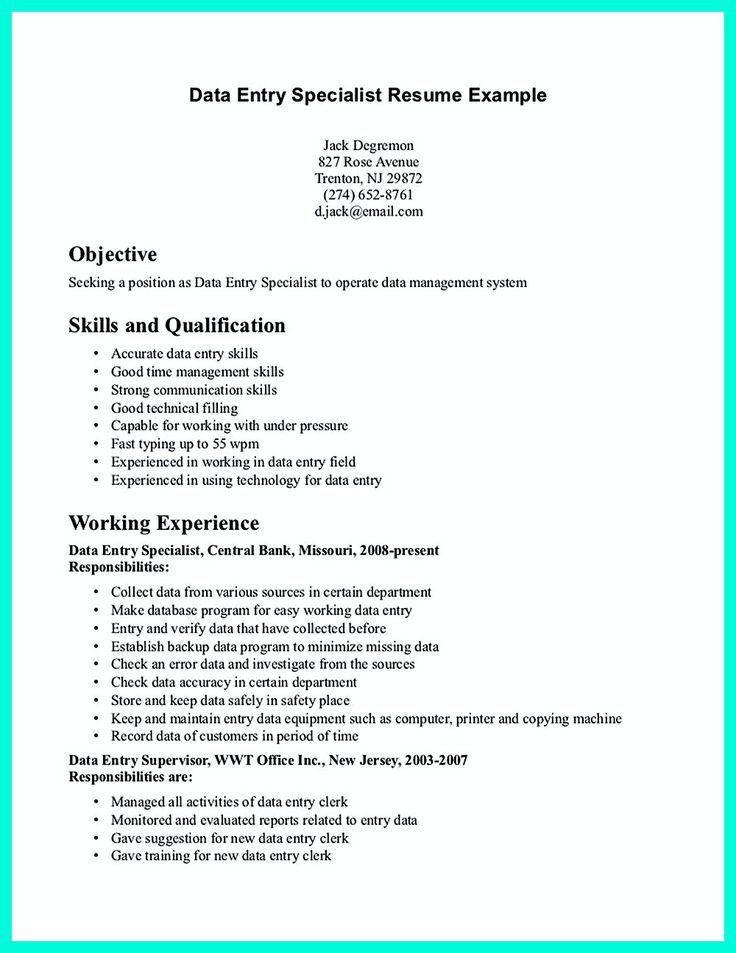 sample data entry specialist resume data entry clerk resume