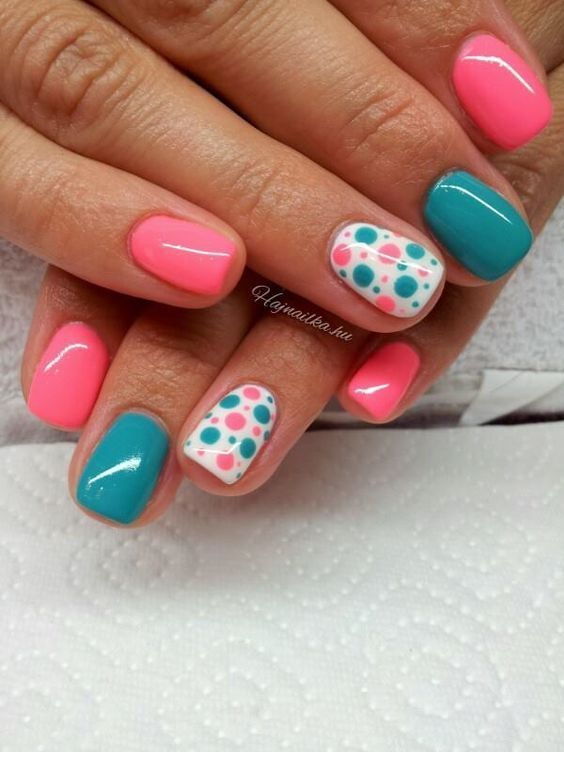 Cute pink and mint nails