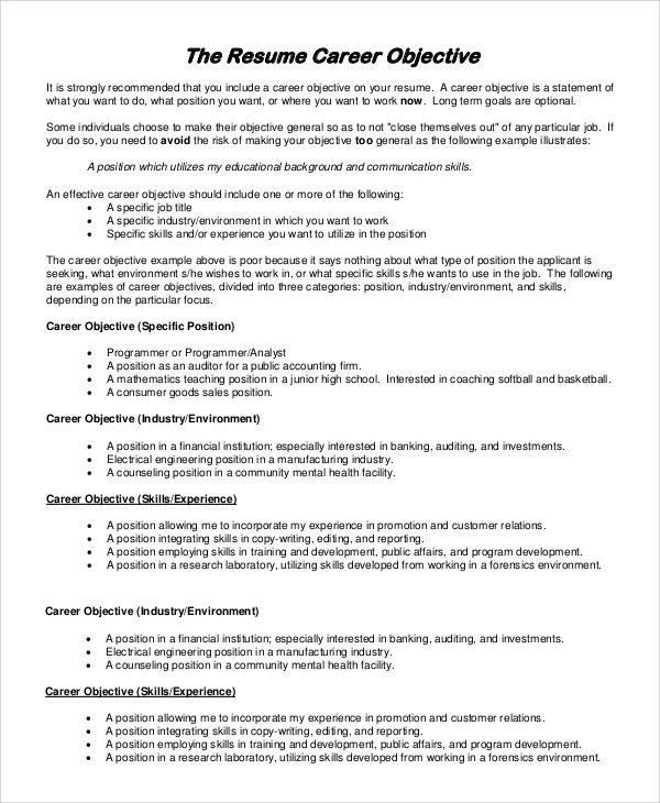Basic Objective For Resume Examples Of A Resume Objective - general resume objectives