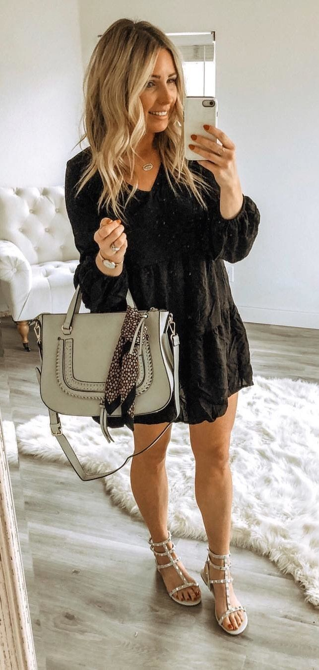 black and white long sleeve dress #spring #outfits