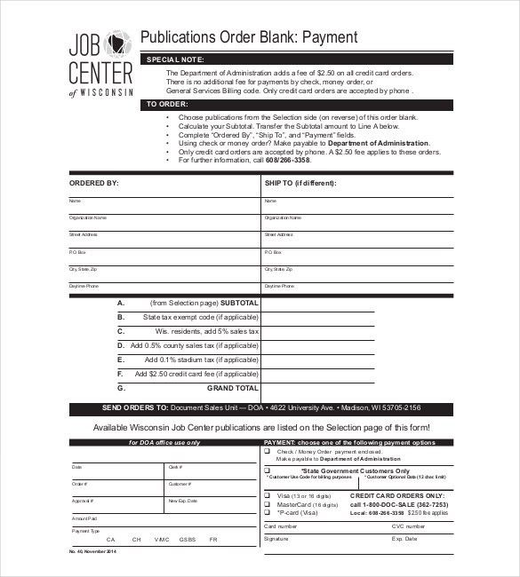 order form with credit card template