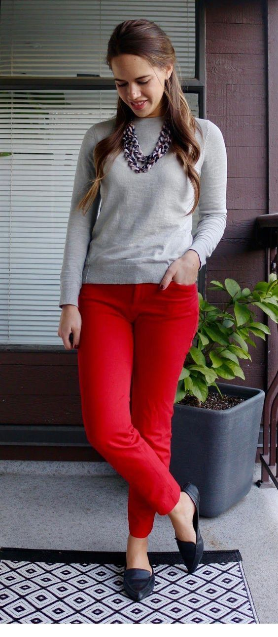 Sweet grey blouse and red pants