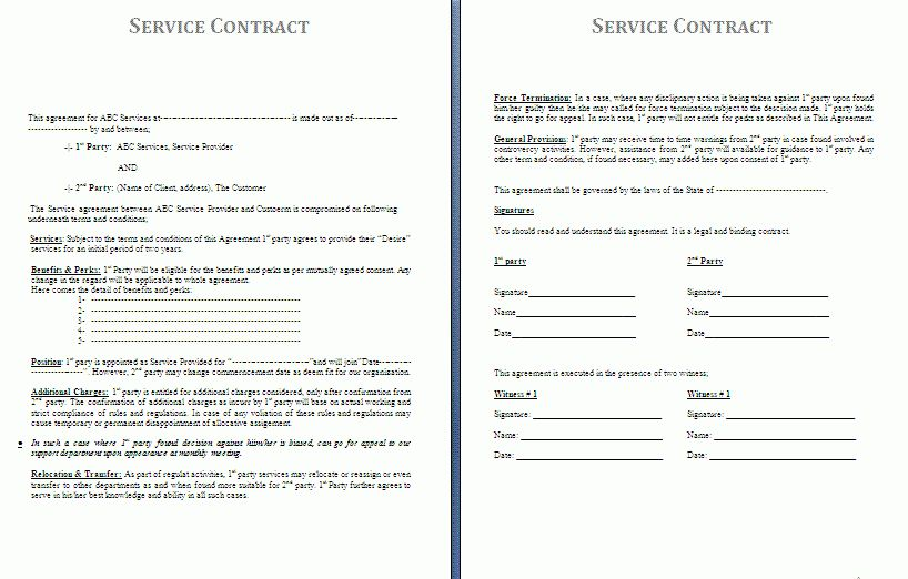 Contract Of Services Sample General Contract For Services Form - sample terms and conditions template