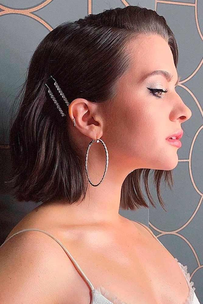 Easy Hairstyles With Pins #easyhairstyles #chichairstyles ★ Sexy short hairstyles are the answer for those who wonder which type of haircut is the best. Forget about waking up earlier only to fix your hair! #glaminati #lifestyle  #shorthairstyles