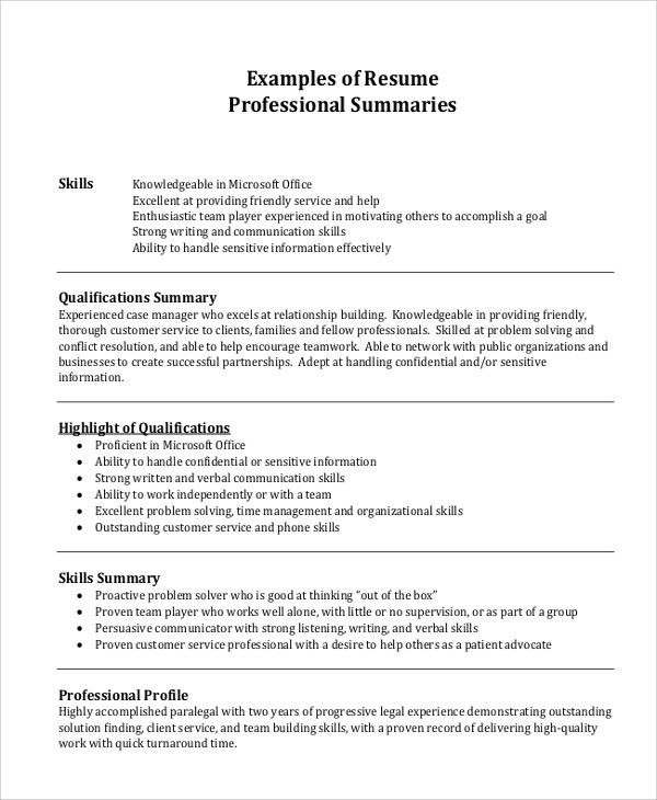 Example Of A Professional Summary On Resume