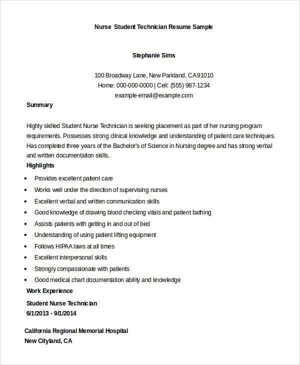 student nurse technician resume sample technician