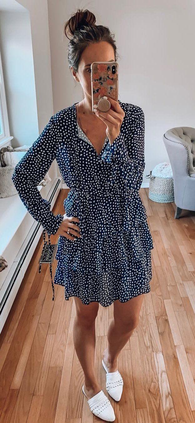blue v neck long sleeved mini dress #spring #outfits
