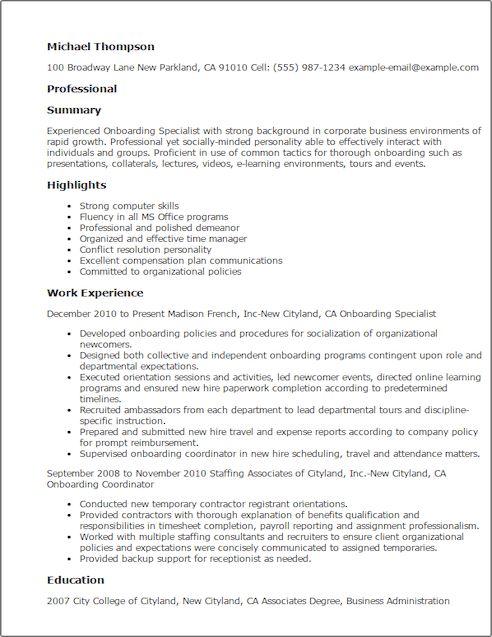 Onboarding Specialist Sample Resume Professional Onboarding - onboarding specialist sample resume