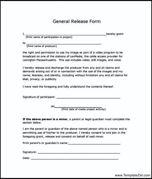 General Release Template Sample General Release Form Blank - generic photo release form