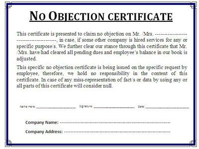format of no objection certificate from company