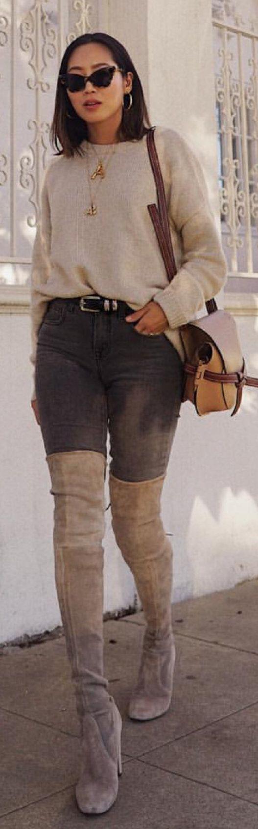 gray thigh high boots