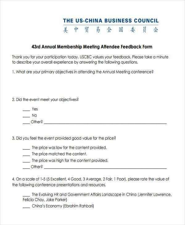 meeting feedback form template samplescsat - event feedback form in pdf