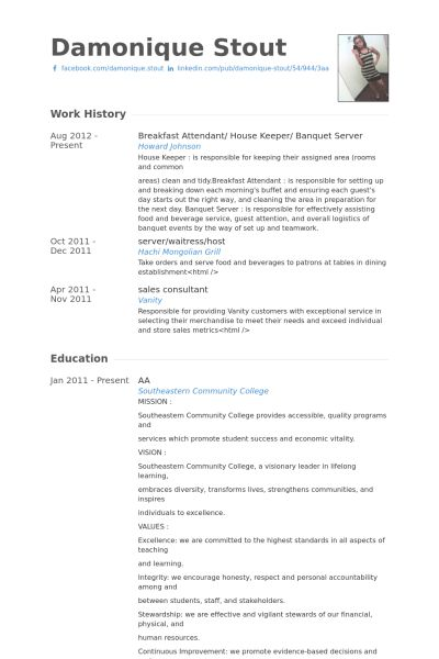 banquet resume samples - Yelommyphonecompany - breakfast attendant sample resume