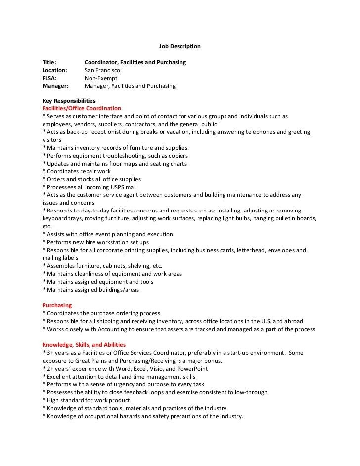 Facilities Coordinator Cover Letter] Facilities Coordinator Cover ...