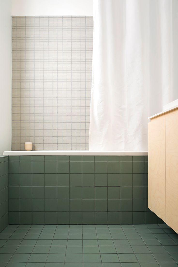 Matt Green Bathroom Floor Tiles in a Contemporary Bathroom