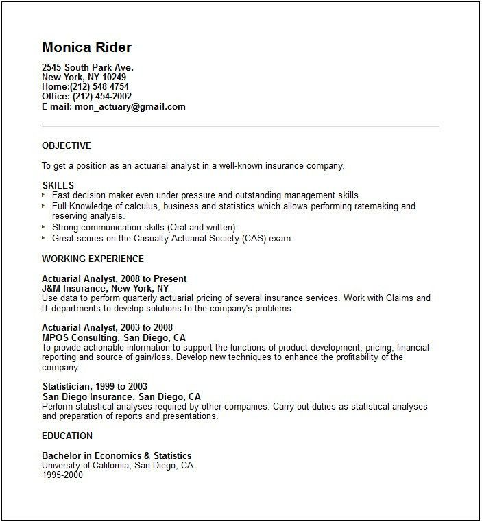 Actuarial Cover Letter: Sample Actuary Resume. Actuarial Science Resume Cover