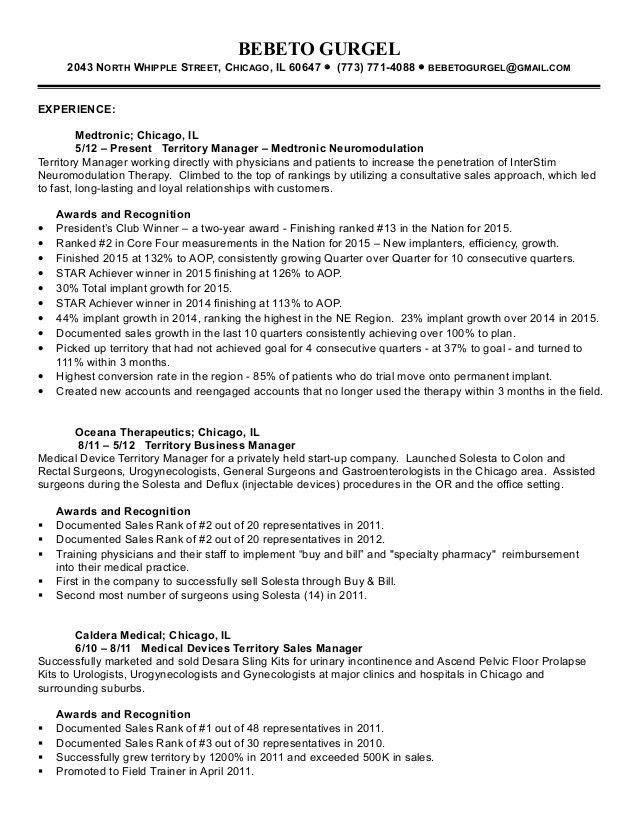 medical sales sample resume