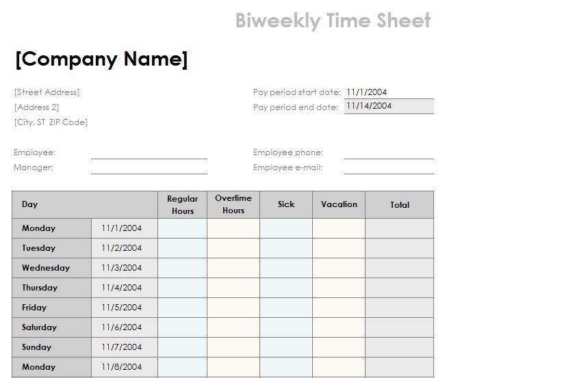Timesheet Template Word 11 Ms Word Timesheet Templates Free - sample weekly timesheet