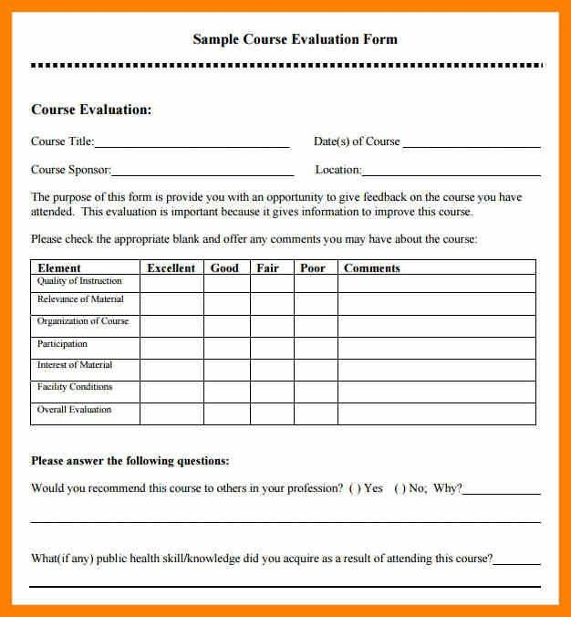 Trainer Evaluation Template Training Evaluation Form 15 Download - class evaluation template