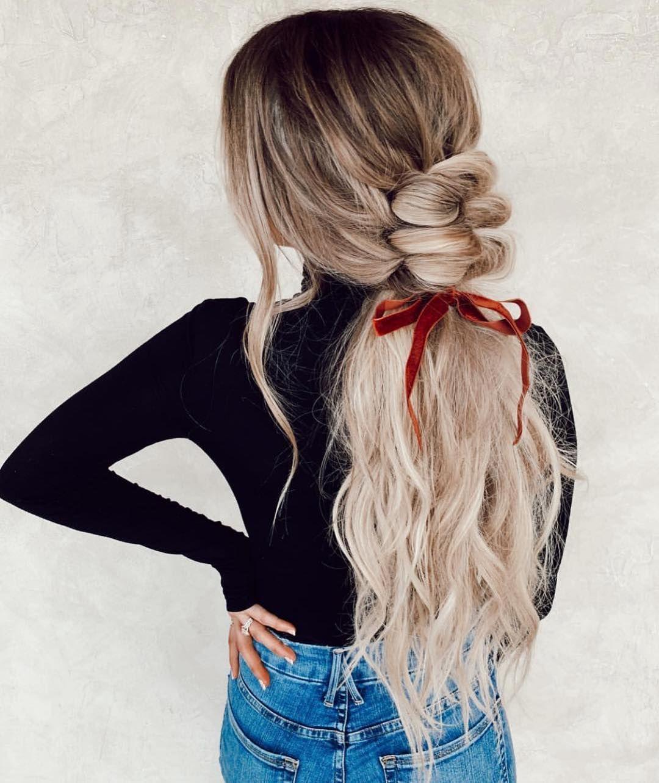 "Habit Salon on Instagram: ""Knotted braid 🌀 by @hairbytaylor___ w/ @kelsrfloyd & @habitextensionmethod by @hairby_chrissy"""
