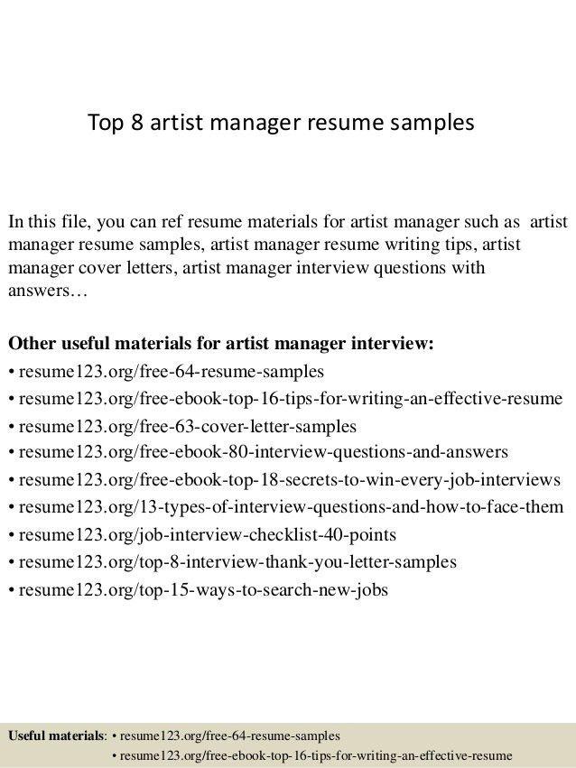 Cover Letter Artist Management Job | Cover Letter