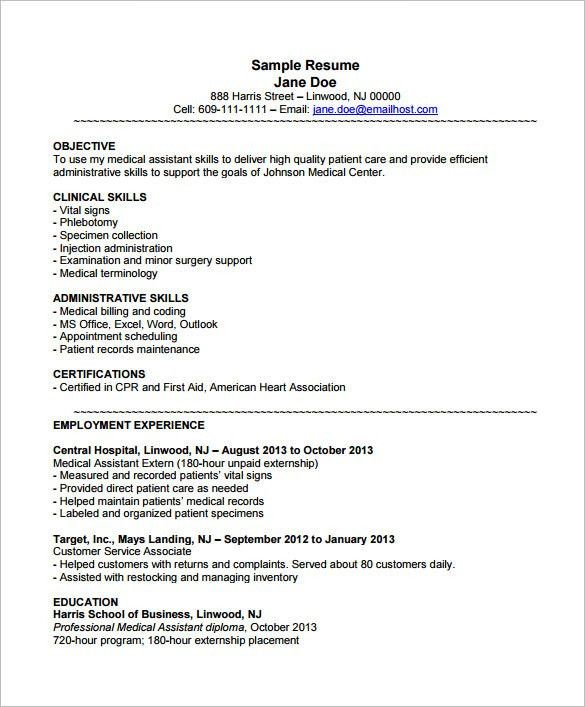Objective For A Medical Assistant Resume Medical Assistant Resume - skills for medical resume