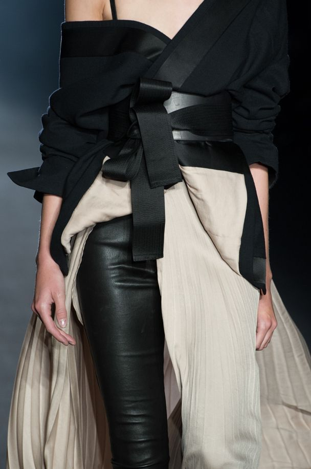 Wrap jacket & belt with pleated skirt & leather pants; fashion details // Haider Ackermann