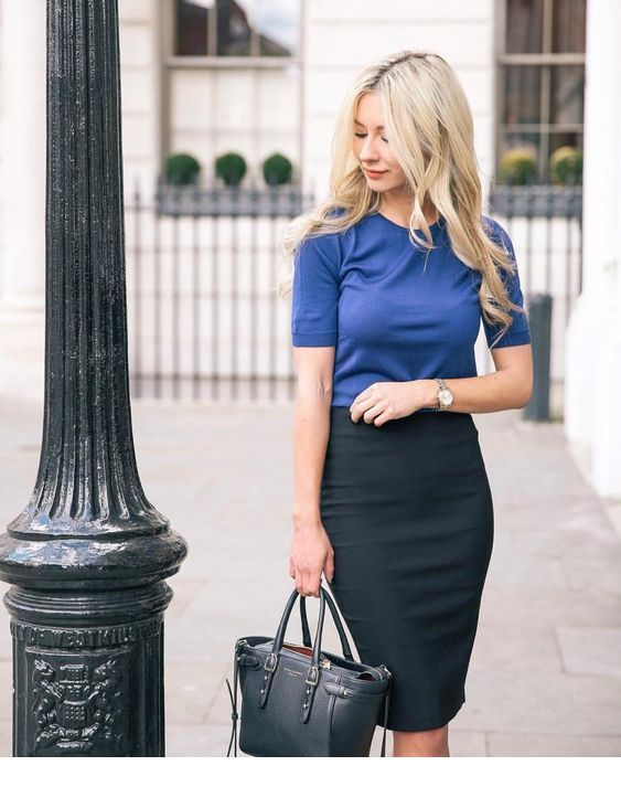 Nice blue top and black pencil skirt