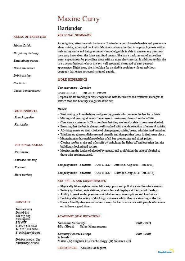 Resume Examples For Bartender Unforgettable Bartender Resume