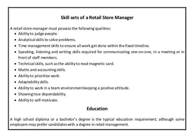 Sample Resume Store Manager Retail Store Manager Resume Sample - resume examples retail