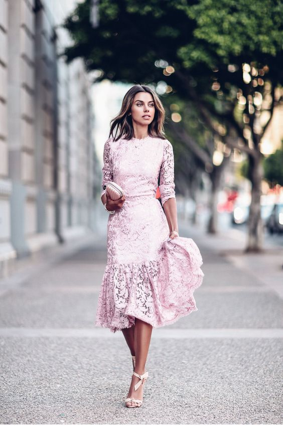 A very nice light pink dress from lace