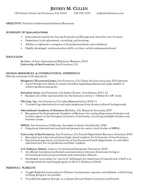 Chronological Resume Format Example Chronological Resume Template