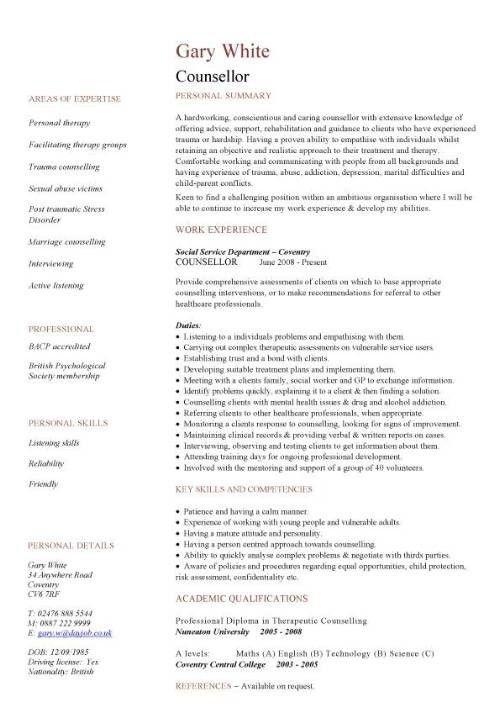 resume format for social worker