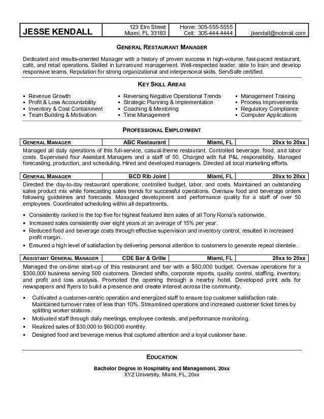 Restaurant Resume Objectives Restaurant Resume Objective Resume - marketing manager resume objective