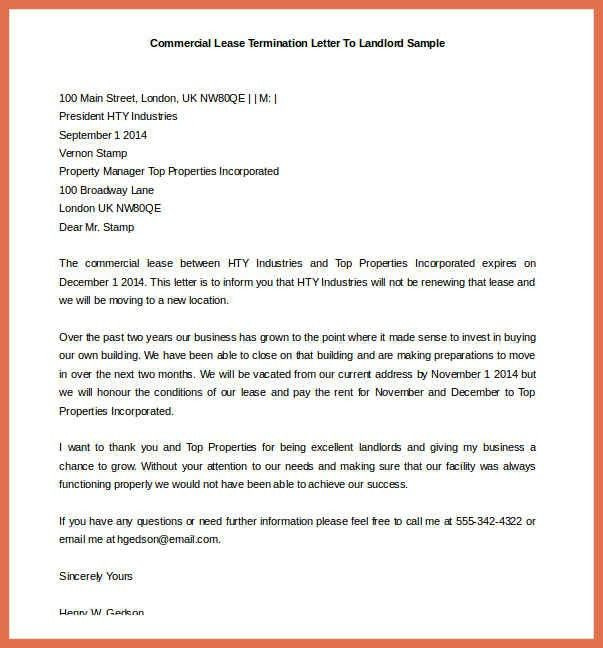 Letter Termination Of Lease Landlord Notice Of Termination Of - lease termination letter example