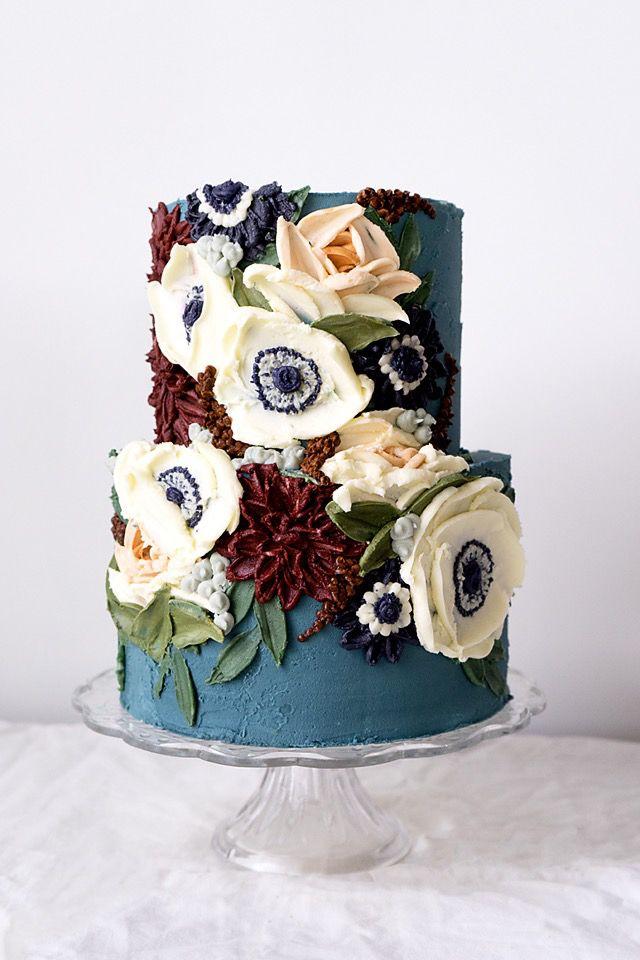 Palette Knife Sculpted Cake - Anemones