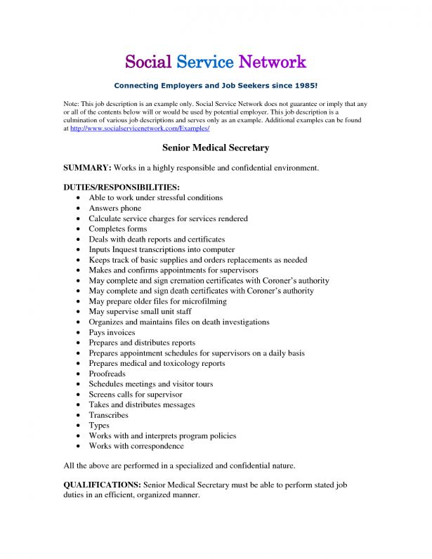 Cover Letter For Medical Secretary Medical Secretary Cover Letter - medical secretary job description