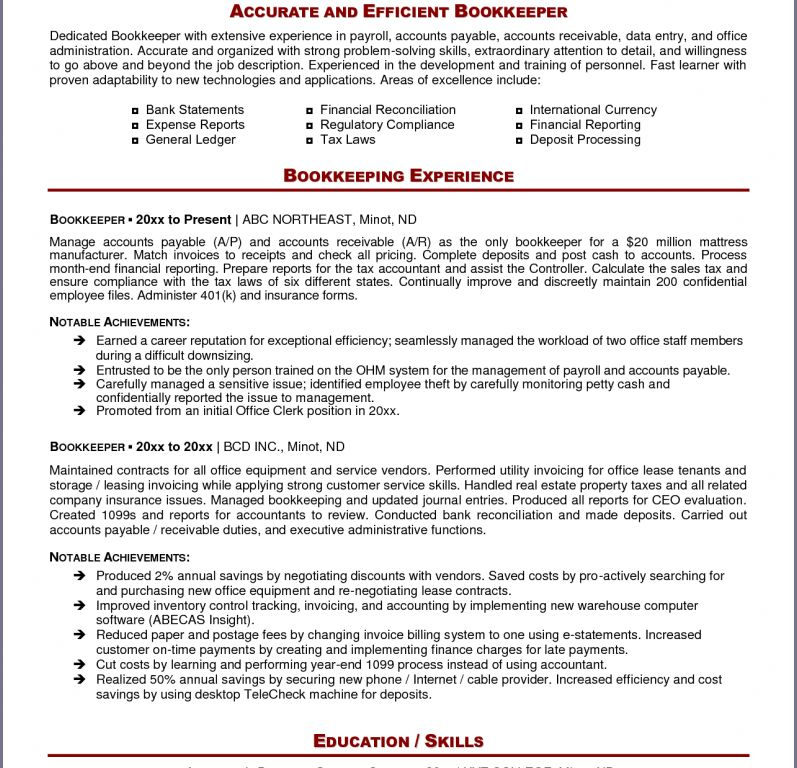 bookkeeper resume example